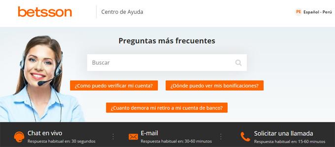 Betsson Perú - Atención al cliente